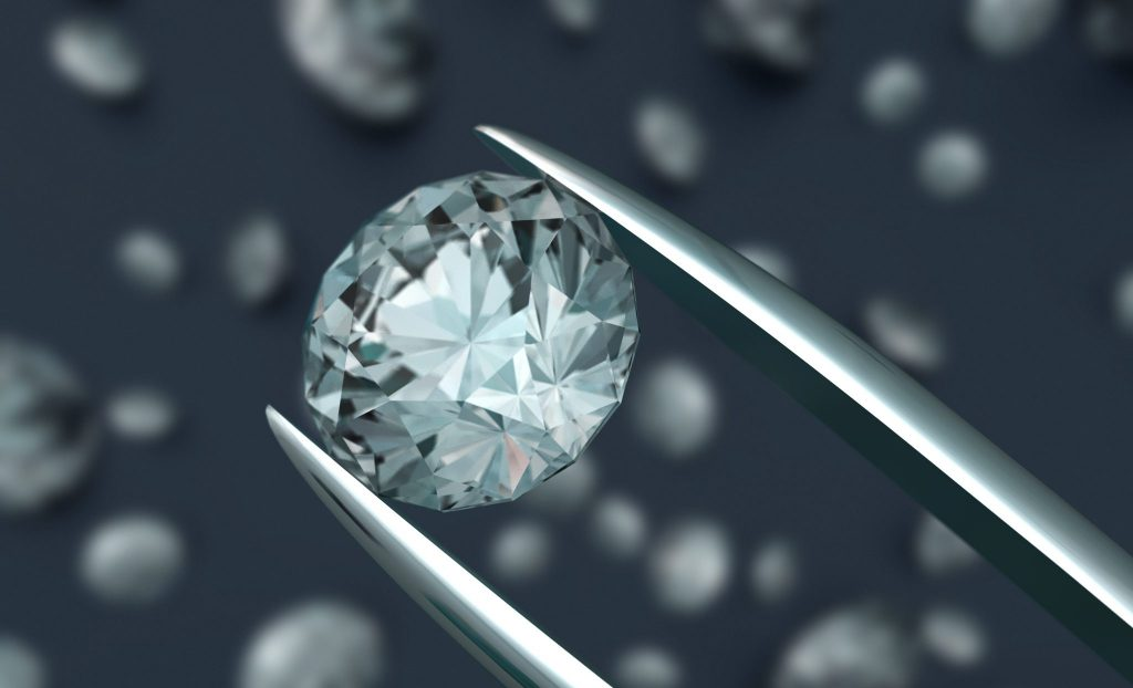 A diamond in a pair of tweezers being examined over a background of other diamonds. 3D render with HDRI lighting and raytraced textures.