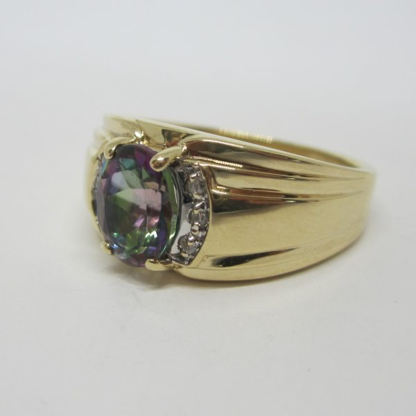 Mens 10k Yellow Gold Mystic Topaz and Diamond Ring