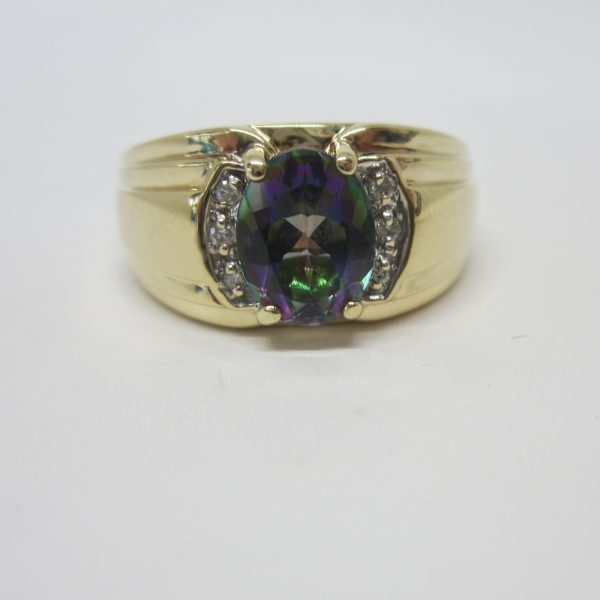 mens mystic topaz 10k gold ring