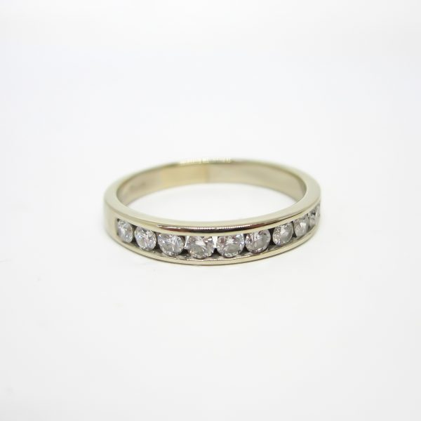 White Gold Diamond Channel Set Band