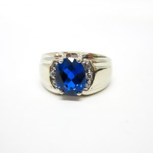 Mens White Gold Blue Stone Ring