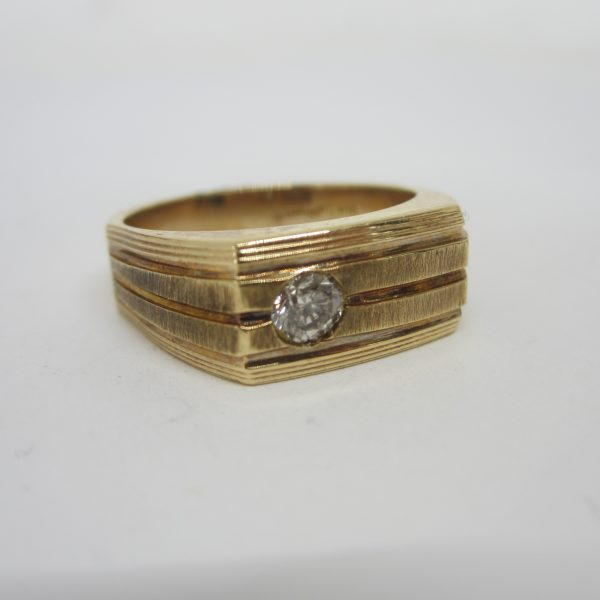 mens 14k gold ring with diamond
