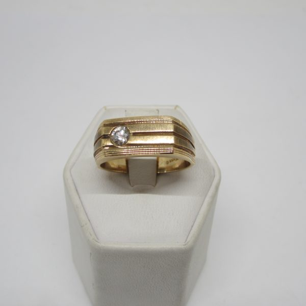 Mens 14K Yellow Gold and Diamond Ring