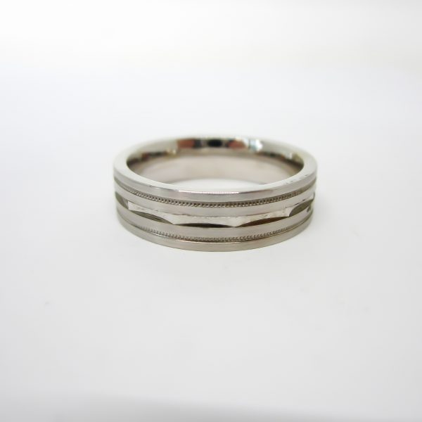 10k White Gold Mens Wedding Band