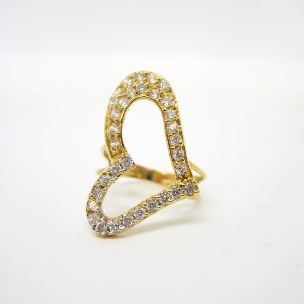 Gold Heart Ring, 18k Yellow Gold