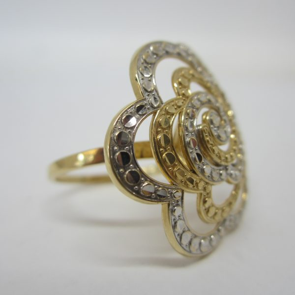 14k Two Tone White and Yellow Gold Flower Statement Ring