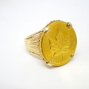 Maple Leaf Ring, 1/4oz 24k Gold Maple Leaf Ring