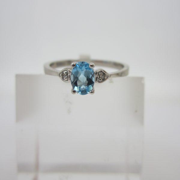 Blue Topaz and Diamond Ring, December Birthstone Ring