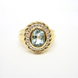 14k Two Tone Gold Topaz Ring