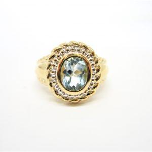 14k Two Tone Gold Topaz Ring