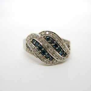 White and Blue Diamond Twist Ring