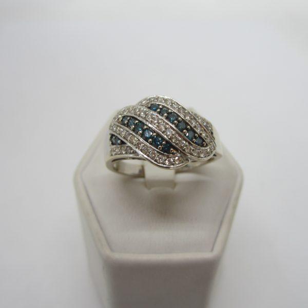 White and Blue Diamond Twist Ring