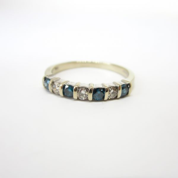 White and Blue Diamond Band