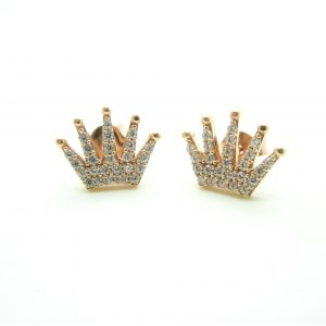 10k Rose Gold Crown Earrings