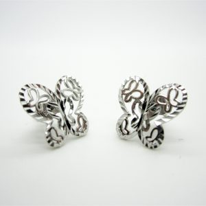 10k White Gold Butterfly Stud Earrings