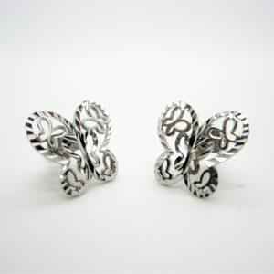 10k White Gold Butterfly Stud Earrings