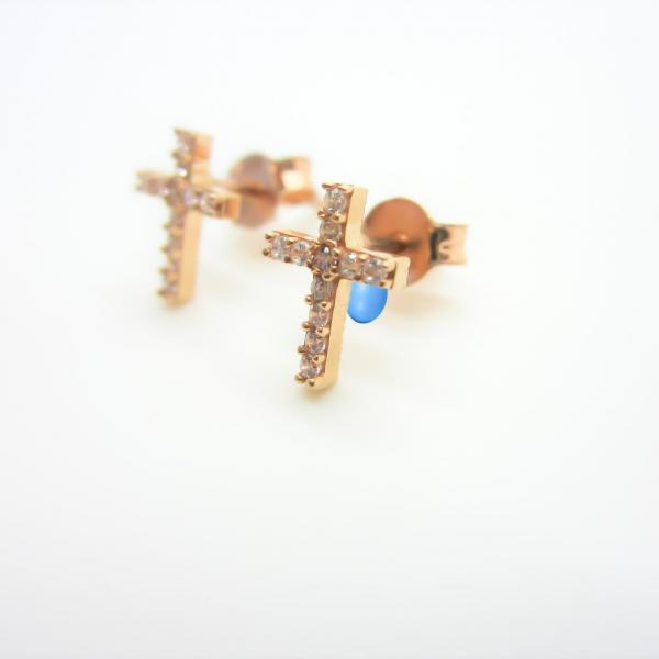 10k Rose Gold Cross Stud Earrings