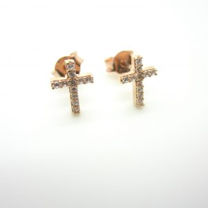 10k Rose Gold Cross Stud Earrings
