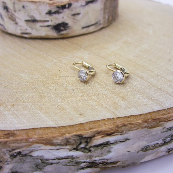 10k yellow gold CZ earrings