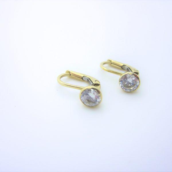 kids leaver back CZ gold earrings