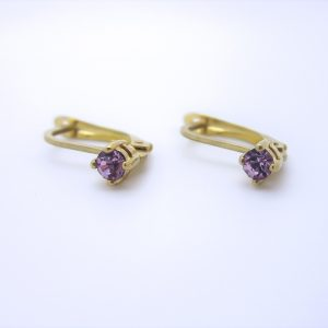10k Yellow Gold Purple Stone Lever Back Earrings