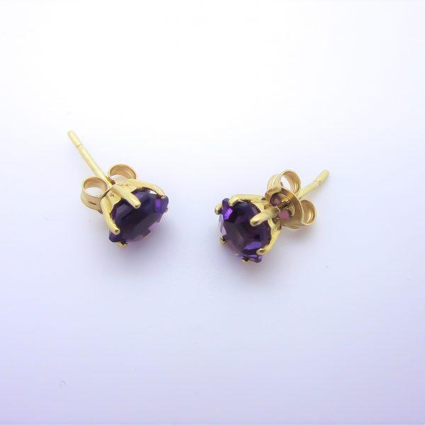 yellow gold purple stone earrings