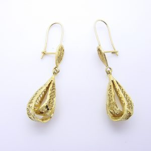 14k Yellow Gold Filigree Dangle Earrings