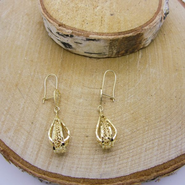 14k Yellow Gold Filigree Dangle Earrings