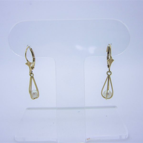 14k yellow gold dangle earrings with imitation pearls