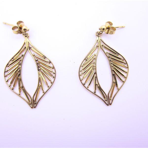 10k Yellow Gold Fancy Dangle Earrings