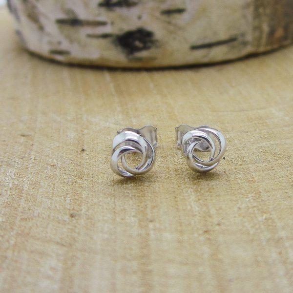 white gold knot stud earrings
