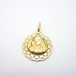 10k Yellow Gold Mary Medallion Charm