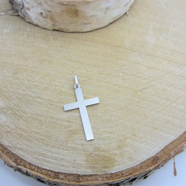 10k white gold cross