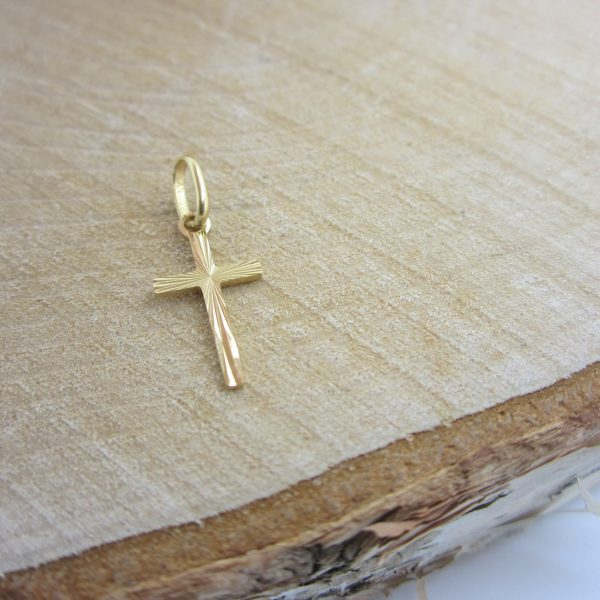 Yellow gold cross charm