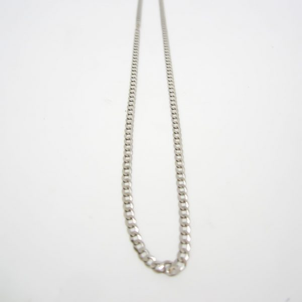 10k White Gold Flat Curb Link Chain