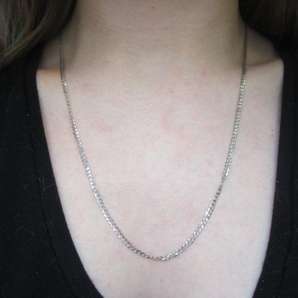 10k White Gold Flat Curb Link Chain