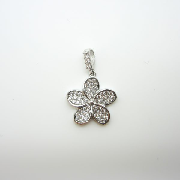 10k White Gold Flower Pendant