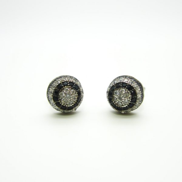 10k white gold black and white CZ stud earrings