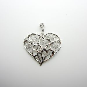 10k White Gold Heart Pendant