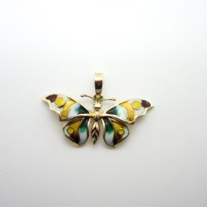 10k Yellow Gold Enamel Butterfly Pendant