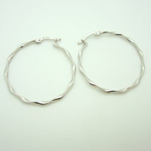 10k White Gold Large Hoop Earrings