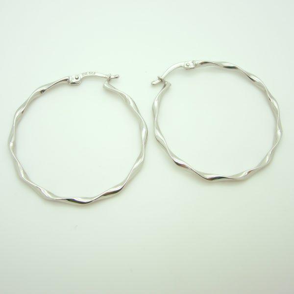10k White Gold Large Hoop Earrings