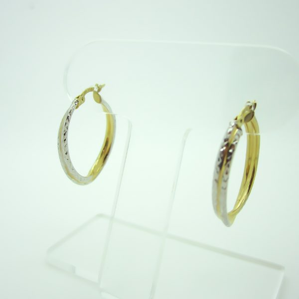 10k white and yellow gold hoop earrings