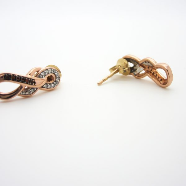 10k Rose Gold Infinity Diamond Earrings