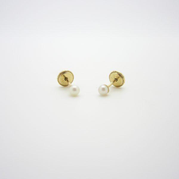 10k yellow gold pearl stud earrings