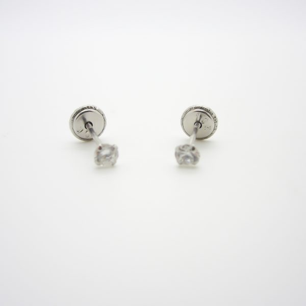 10k White Gold Childrens CZ Stud Earrings