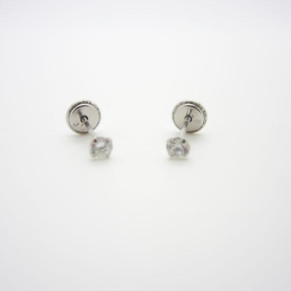 10k White Gold Childrens CZ Stud Earrings