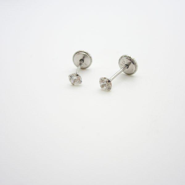 10k White Gold Children's CZ Stud Earrings