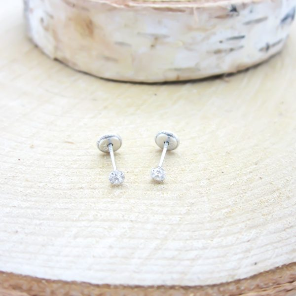 10k White Gold Children's CZ Stud Earrings