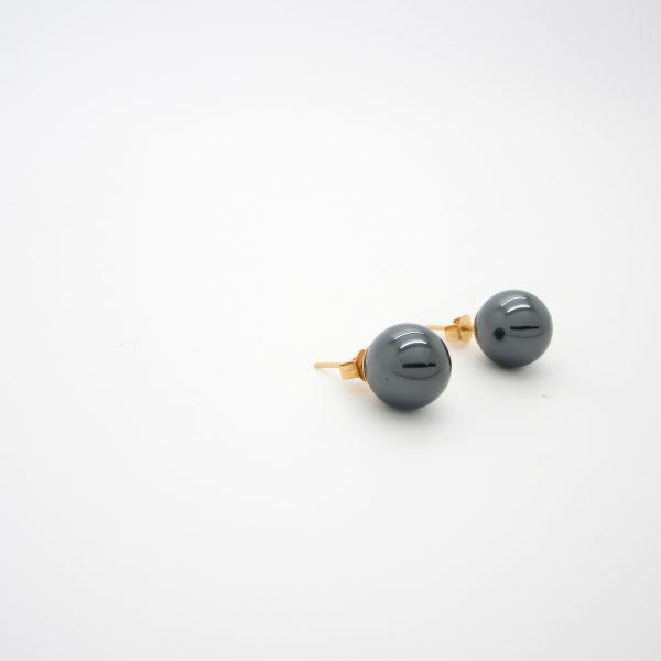 14k Yellow Gold Hematite Ball Stud Earrings